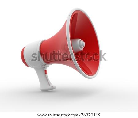 Retro megaphone isolated on white. 3d render illustration - stock photo