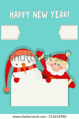 Retro Merry Christmas and New Years Card with Santa Claus and Snowman with Place for Text. Vertical format.  - stock photo