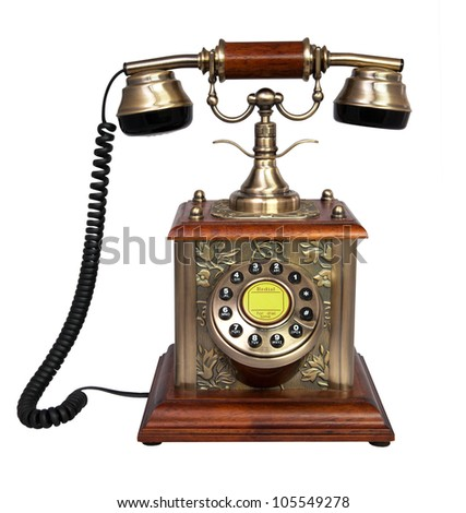 Retro metal and wooden Phone. Isolated - stock photo