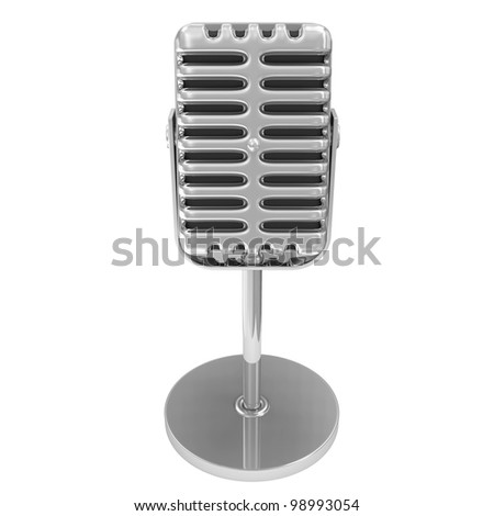 Retro Metallic Microphone isolated on white background