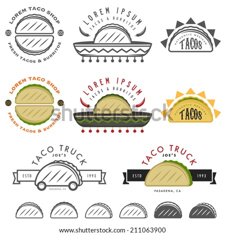 Retro Mexican taco labels, badges and design elements - stock photo