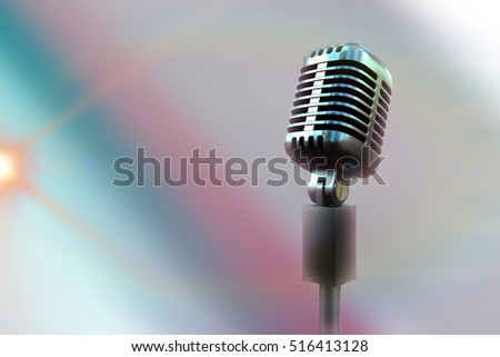 Retro microphone against colored background