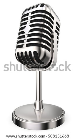 Retro Microphone. 3D render of retro Microphone on flip stand. Non branded.