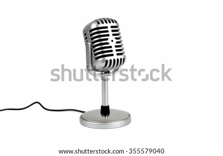 Retro microphone. ( Dynamic microphone ) on white bacground - stock photo