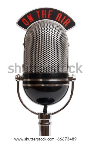 Retro microphone isolated on a white - stock photo