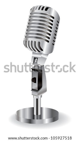 retro microphone isolated on a white background - stock photo
