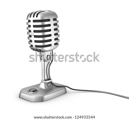 Retro microphone. Isolated on white. - stock photo