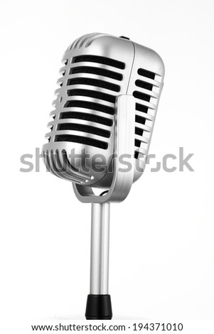 Retro microphone isolated on white background - stock photo
