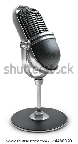 Retro microphone isolated on white background High resolution 3d