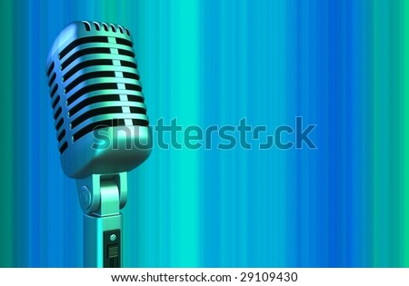 retro microphone on a blue background (3d)