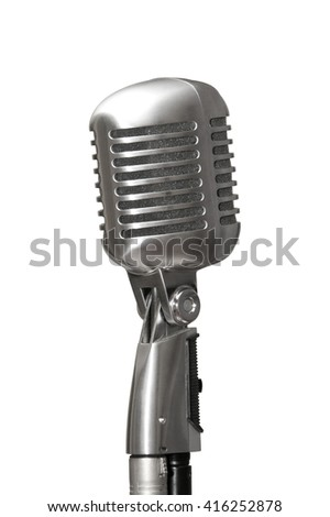 Retro microphone on white background isolated with clipping path