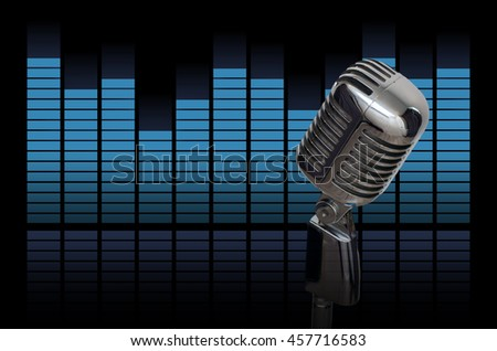 Retro microphone over the sound waves equalizer background, musical instrument concept