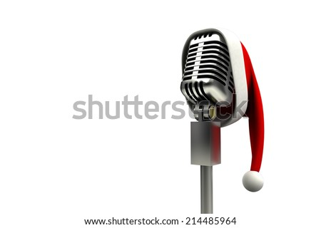 Retro microphone with santa hat on white background - stock photo