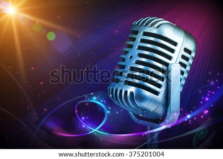 Retro microphone with stage lights - stock photo