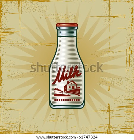 Retro Milk Bottle - stock photo