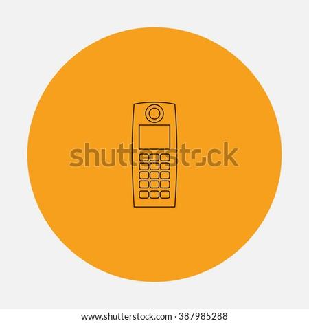 Retro mobile phone. Simple flat icon on orange circle - stock photo