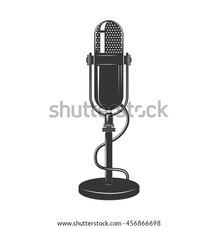 Retro monochrome microphone icon. Old microphone illustration. Vintage microphone isolated on white background. - stock photo