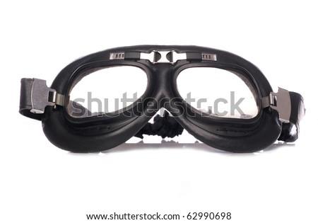 Retro motorcycle goggles studio cutout - stock photo