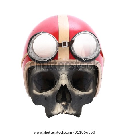 Retro motorcycle helmet on the skull isolated on white background. - stock photo
