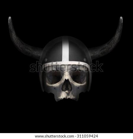 Retro motorcycle helmet with bull's long horns on the skull on black background. - stock photo