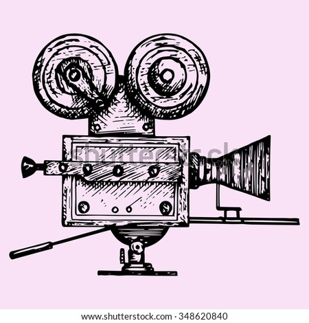 retro movie camera, doodle style, sketch illustration, hand drawn, raster - stock photo