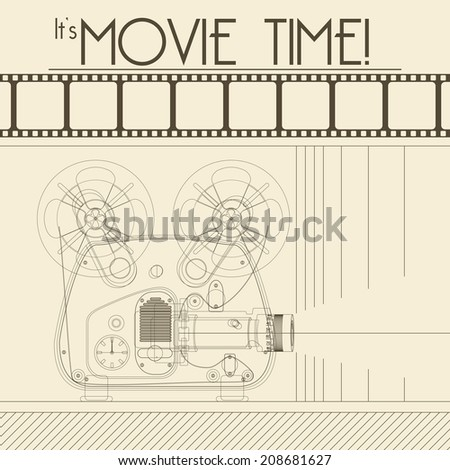 Retro movie poster with Vintage Movie Projector background illustration