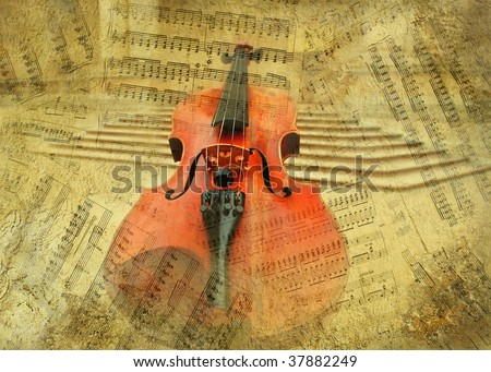 Retro musical  grunge violin background - stock photo