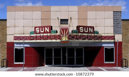 Retro Neon Movie Theater - stock photo