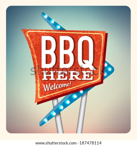 Retro Neon Sign BBQ lettering in the style of American roadside advertising vintage style 1950s - stock photo