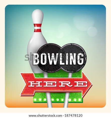 Retro Neon Sign Bowling lettering in the style of American roadside advertising vintage style 1950s - stock photo