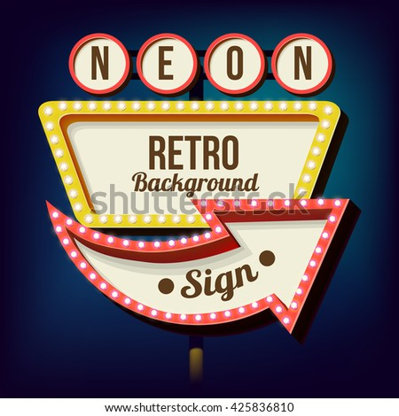 Retro night sign with an arrow. Vintage 3D volumetric banner. Outdoor advertising. Realistic character to your text. Design ellement for your advertising banner. illustration