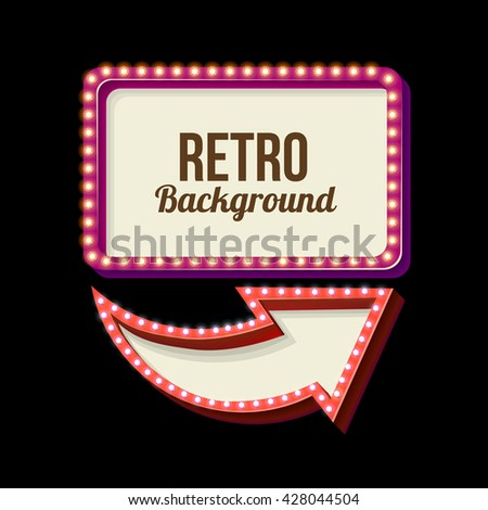 Retro night sign with an arrow. Vintage 3D volumetric banner. Outdoor advertising. Realistic character to your text. Design ellement for your advertising banner. illustration - stock photo
