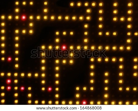 Retro old computer video game lights background - stock photo
