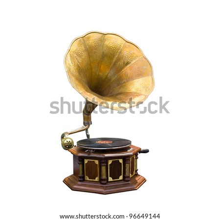Retro old gramophone with horn speaker - stock photo