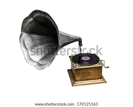 Retro old gramophone with horn speaker for playing music over plates isolated on white