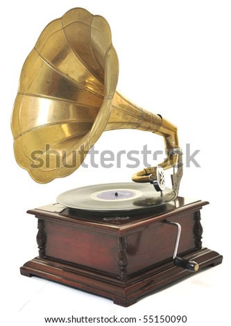 retro old gramophone with horn speaker  for playing music over plates  isolated on white in studio - stock photo