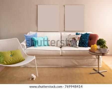 Modern Interior Design Living Room Blue Stock Illustration ...