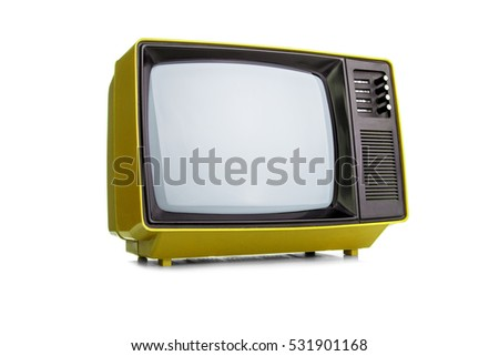 Retro old orange TV receiver on white background