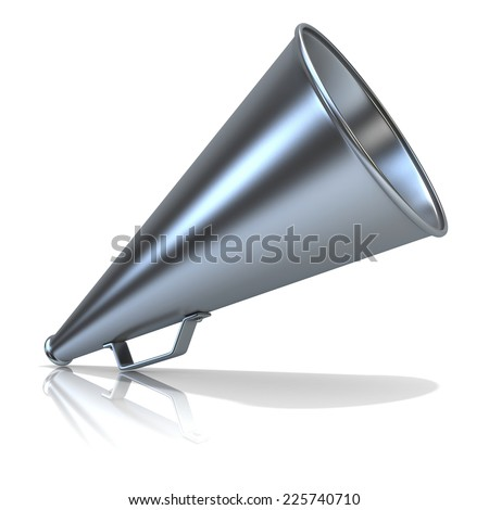 Retro - old style megaphone, isolated on white background. 3D render, standing up. - stock photo