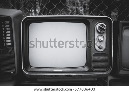 Retro old television in vintage black and white color style. retro technology.