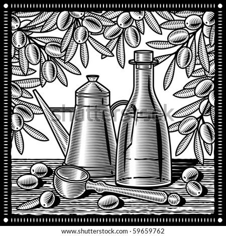 Retro olive oil still life black and white - stock photo