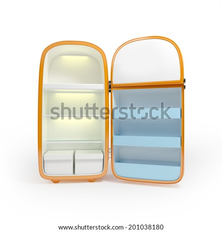 Retro orange refrigerator isolated on white background - stock photo