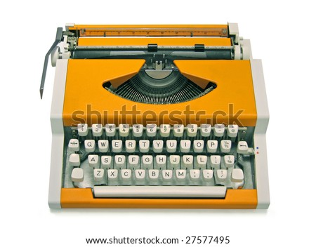 Retro orange typewriter - stock photo