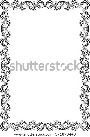 Retro ornate luxury art baroque frame on white