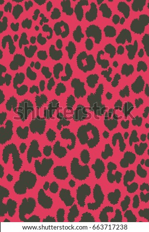 Retro Painted animal skin wild cat leopard cheetah print on pink background