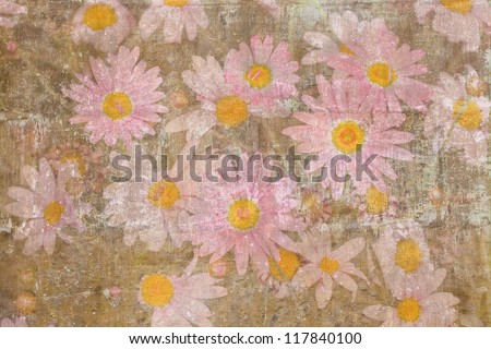 Retro painted texture with a bulk of pink daisies - stock photo