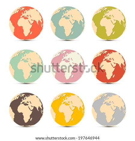 Retro Paper Earth World Globe Map Icons