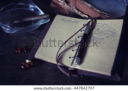 retro paper empty and objects pen rope cigar
