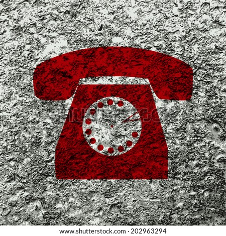 retro phone icon flat design with abstract background. - stock photo