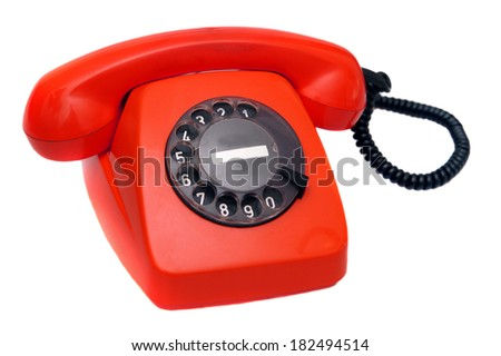 Retro phone isolated on white